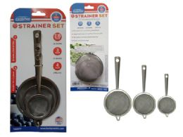 48 Units of 3 Piece Strainer Set - Stainless Steel Cookware