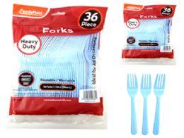 48 Wholesale 36 Piece Baby Blue Color Forks