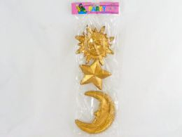 144 Units of Decoration Plastic Star Moon And Soon - Home Decor