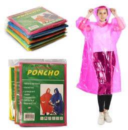 3900 of Yacht & Smith Unisex One Size Reusable Rain Poncho Assorted Colors 60g Peva