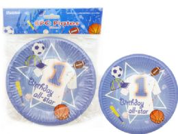 144 Wholesale Birthday Sport Plate 8 Pieces