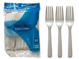 48 Units of 36 Count Plastic Forks - Disposable Cutlery