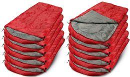 10 Bulk Yacht & Smith Camping Lightweight Sleeping Bag 3 Season Warm & Cool Weather Red