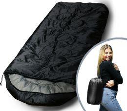 Bulk Camping Lightweight Sleeping Bag 3 Season Warm & Cool Weather Black