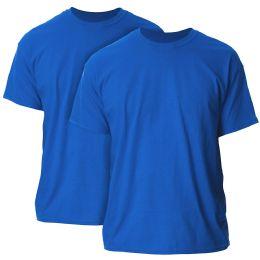 Mens Cotton Crew Neck Short Sleeve T-Shirts Solid Blue, Medium