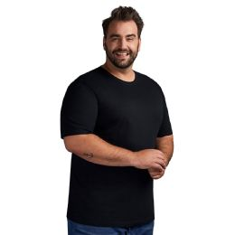 24 Bulk Mens Plus Size Cotton Short Sleeve T Shirts Solid Black Size 3xl