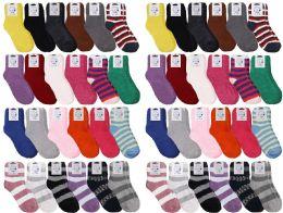 48 Units of Yacht & Smith Womens Wholesale Bulk Warm And Cozy Fuzzy Socks, Colorful Winter Socks - Womens Fuzzy Socks