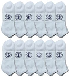 48 Units of Yacht & Smith Men's King Size No Show Cotton Ankle Socks Size 13-16 White - Big And Tall Mens Ankle Socks