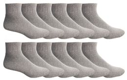 24 Units of Yacht & Smith Men's King Size Cotton No Show Ankle Socks Size 13-16 Gray Bulk Pack - Big And Tall Mens Ankle Socks