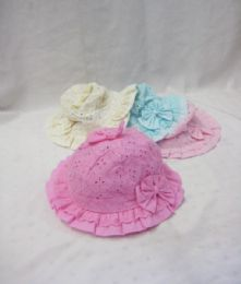 24 Units of Toddler Kids Baby Girl Breathable Sun Hat Cotton Foldable - Baby Apparel