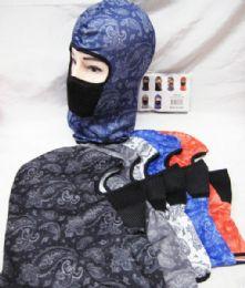 48 Units of Full Face Mask Paisley Bandanna Assorted Colors - Unisex Ski Masks