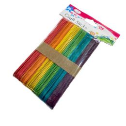 """72 Units of 50pc 6"""" Wooden Craft Sticks [rainbow Colored] - Craft Wood Sticks and Dowels"""
