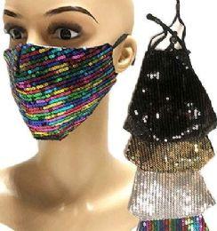 24 Units of Sequin Face Masks Mix Colors - Face Mask