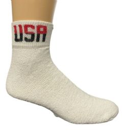 60 Units of Yacht & Smith Men's King Size Cotton Usa Sport Ankle Socks Size 13-16 Solid White Usa Print - Big And Tall Mens Ankle Socks