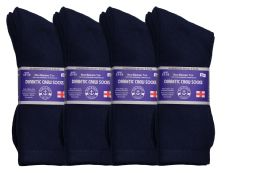 36 Units of Yacht & Smith Men's King Size Loose Fit Diabetic Crew Socks, Navy, Size 13-16 - Big And Tall Mens Diabetic Socks