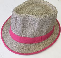 60 Units of Neon Strip Fedora Hat In Assorted Color - Fedoras, Driver Caps & Visor