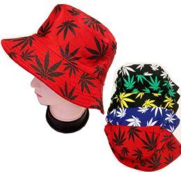 60 Bulk Bucket Leaf Fishing Hat In Assorted Colors