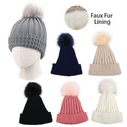 24 Bulk Ladies Plush Lined Knitted Hat With Fur Pompom