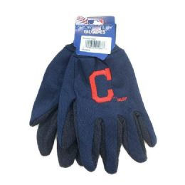 12 Units of Licensed Team Utility Gloves With Gripper Palm [cleve Indians] - Working Gloves
