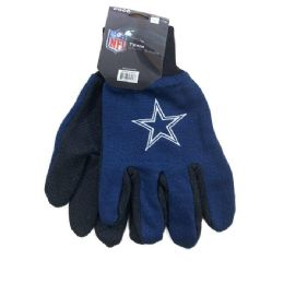 12 Wholesale Licensed Team Utility Gloves With Gripper Palm [cowboys]