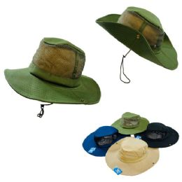 24 Wholesale Mesh Boonie HaT-Solid Color