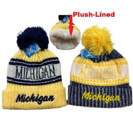 48 of Plush Lined Knit Hat With Pompom Script Michigan