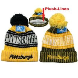 48 of Plush Lined Knit Hat With Pompom Script Pittsburgh