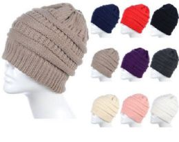 72 Bulk Womens High Messy Bun Beanie Hat With Ponytail Hole, Winter Warm Trendy Knit Ski Skull Cap Assorted Color