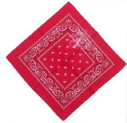 120 Units of Orange Red Bandana Cotton Custom Fashion Paisley Design - Bandanas