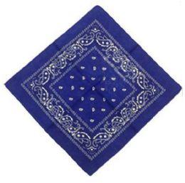 120 Units of Royal Blue Cotton Paisley Bandana - Bandanas