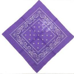 120 Units of Purple Cotton Paisley Bandana - Bandanas
