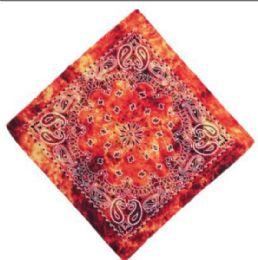 120 Units of Orange Tye Dye Cowboy Bandana - Bandanas