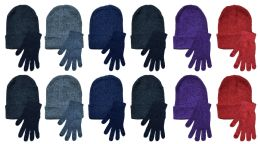 24 Units of Yacht & Smith Womens Warm Winter Hats And Glove Set, Assorted Colors - Winter Sets Scarves , Hats & Gloves
