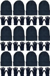 24 Units of Yacht & Smith Womens Warm Winter Hats And Glove Set Solid Black - Winter Sets Scarves , Hats & Gloves
