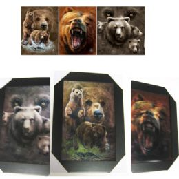 12 Units of Grizzly Bear Canvas Picture Wall Art - Wall Decor