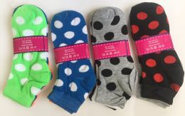 144 Bulk Women Socks Dot Pattern In Assorted Colors