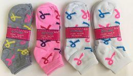 144 Bulk Women Socks Breast Cancer Awareness In Assorted Colors