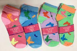144 Bulk Women Socks Butterfly Pattern In Assorted Colors