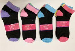 144 Bulk Women Short Solid Socks In Assorted Colors Size 9-11