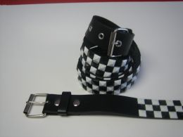 96 of Black And White Checkerboard Studded Belt