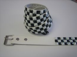 96 of White And Black Checkerboard Studded Belt