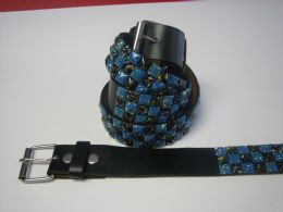 96 of Blue And Black Checkerboard Studded Belt