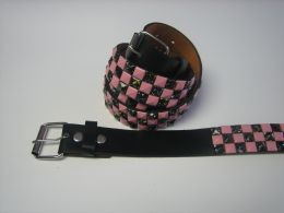 96 of Pink And Black Checkerboard Studded Belt