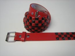 96 of Red And Black Checkerboard Studded Belt