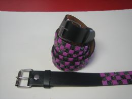 96 of Purple And Black Checkerboard Studded Belt