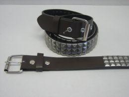 96 of 3 Row Pyramid Studded Belt