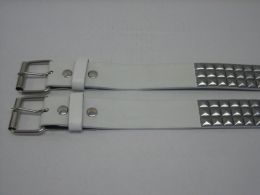 96 of 3 Row Pyramid Studded Belt In White