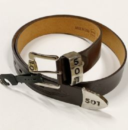 48 of Men 501 Leather Belts Brown In Assorted Size