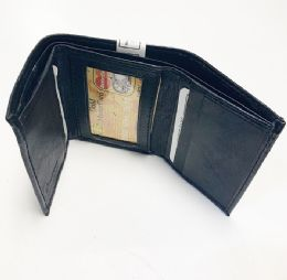 24 Units of Black Leather Tri Folded Wallet - Leather Wallets