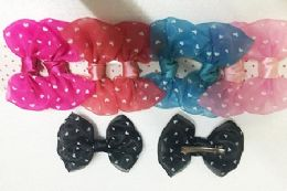144 Units of Girls Hair Bow Clip With Hearts In Assorted Colors - Bows & Ribbons